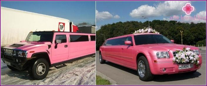 Original rosa Hochzeitslimousinen