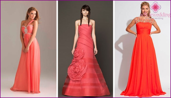 Models of dresses for the bride in coral colors