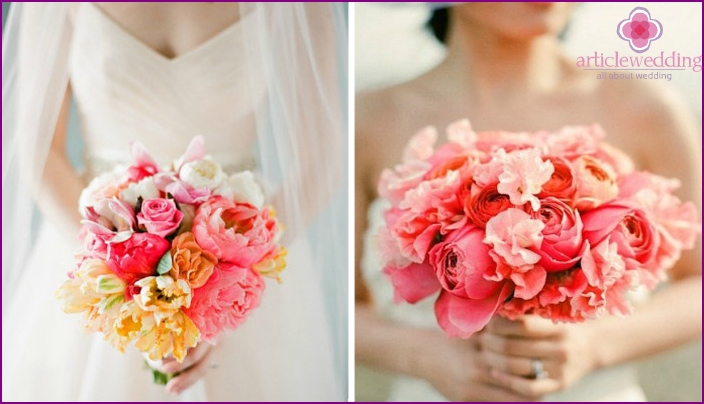 Bridal bouquet in coral