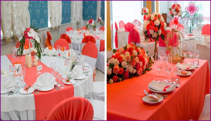 Ideas for decorating tables in coral shades