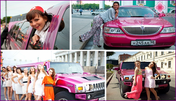 Original pink wedding limousines