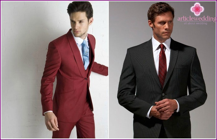 Suits for the groom for a burgundy wedding