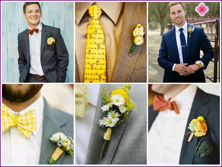 Bild eines Jungvermählten für eine Hochzeit in Gelbtönen