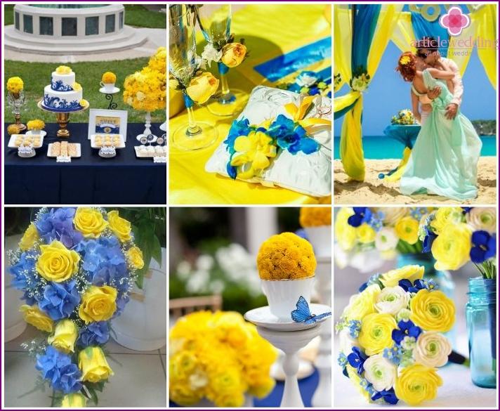 Gelbe und blaue Hochzeitszeremonie