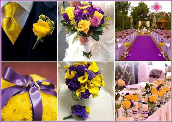 Yellow-violet wedding colors