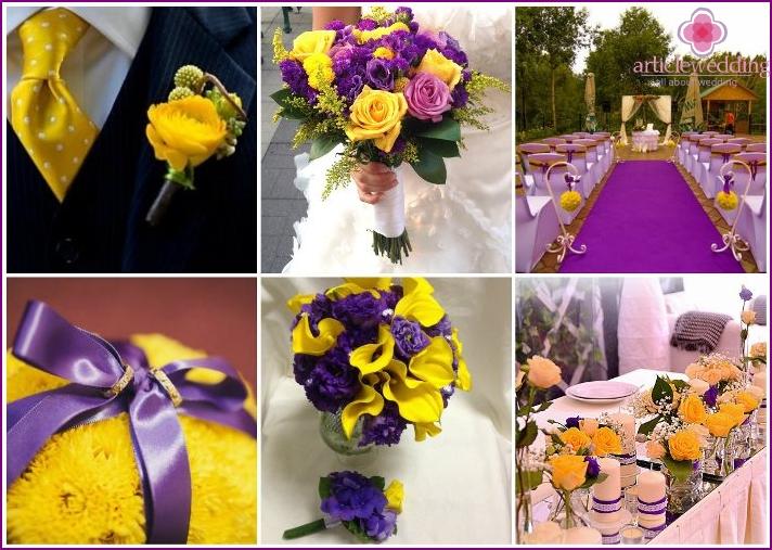 Gelbviolette Hochzeitsfarben