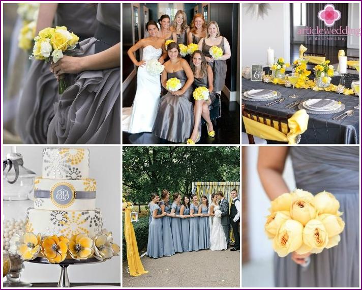 Hochzeitstag in Gelb und Grau