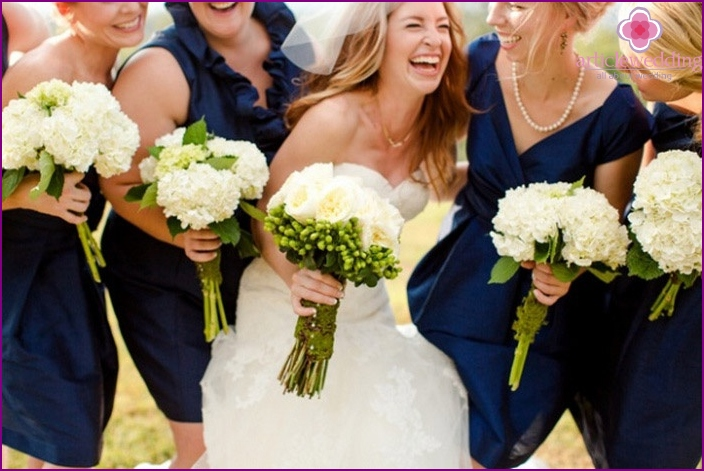 Bridesmaids dresses for a blue and white wedding