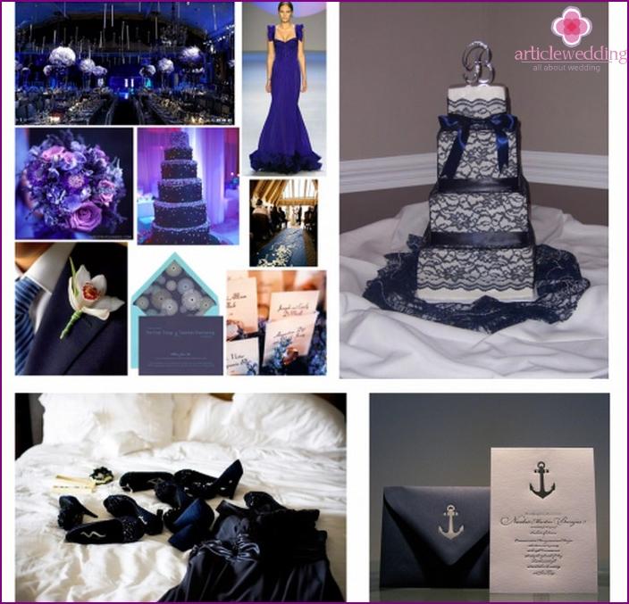 Zubehör für weiße und blaue Hochzeit