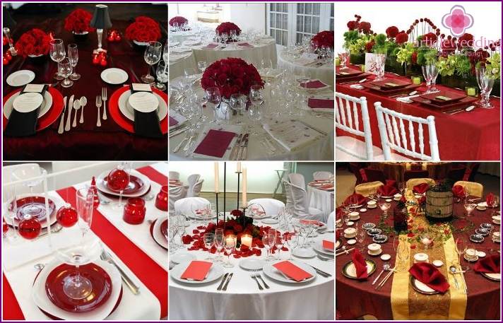 Wedding table in the style of a red wedding