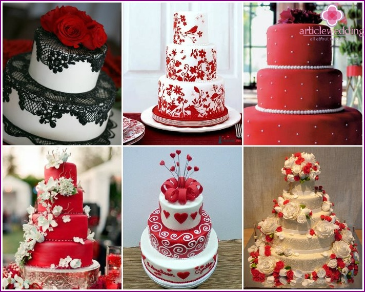 Wedding cakes in the style of a red wedding