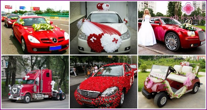 Car decoration for a red wedding