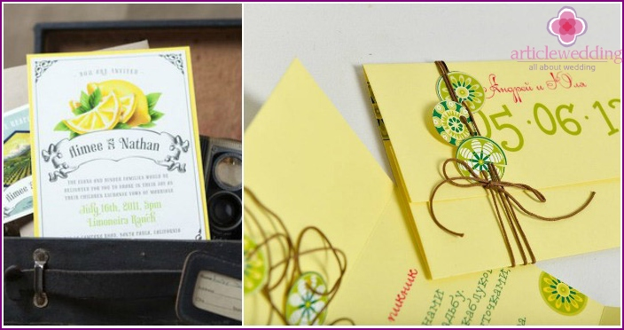 Invitation cards with lemons.