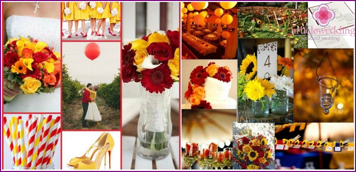 Yellow-red decor at a wedding event