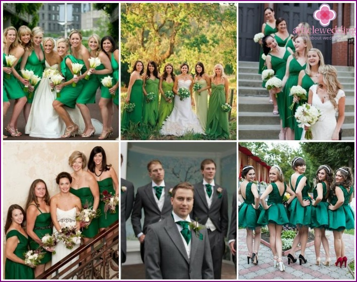 Outfits of guests at an emerald color wedding