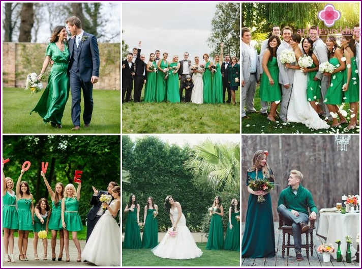Wedding photo session in emerald color