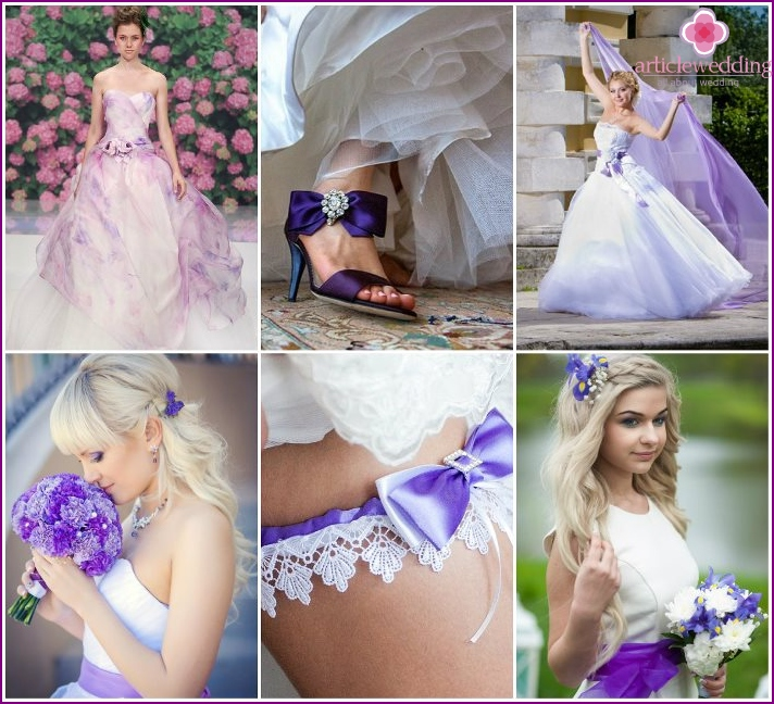 Lilac color for the image of the bride