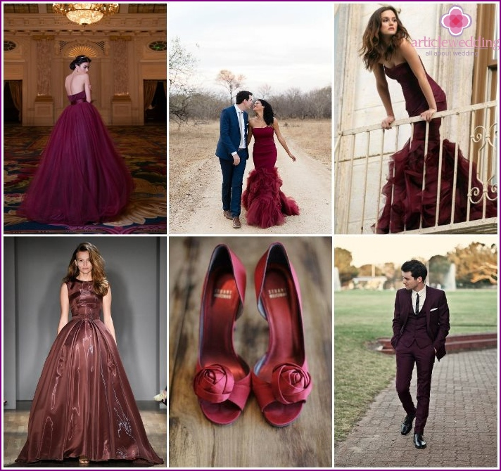 The image of the newlyweds at the wedding color of Marsala