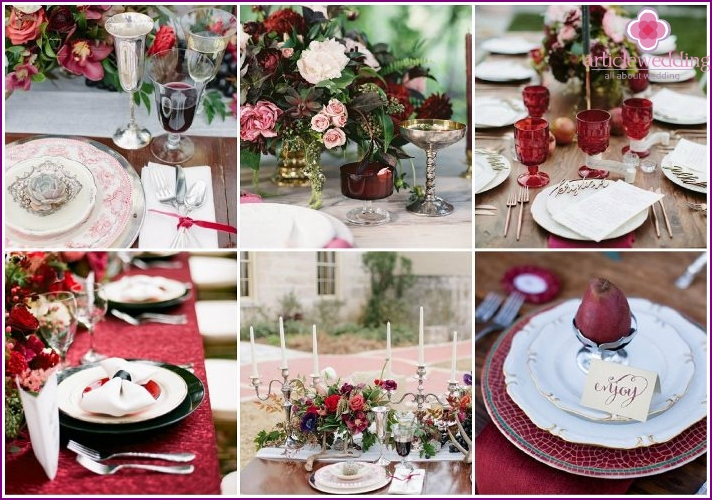 Marsala for table decoration at a wedding