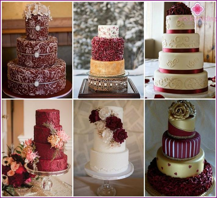 Hochzeitstorte im Marsala-Stil