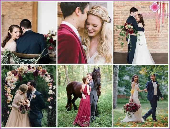 Hochzeit Fotoshooting im Marsala-Stil