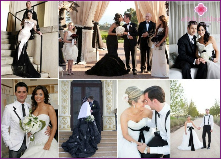 Black and white wedding dresses for newlyweds.