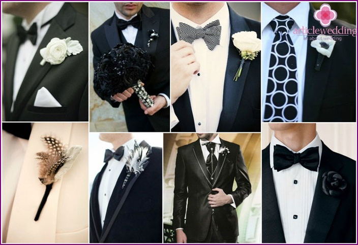 Groom's boutonniere in black and white