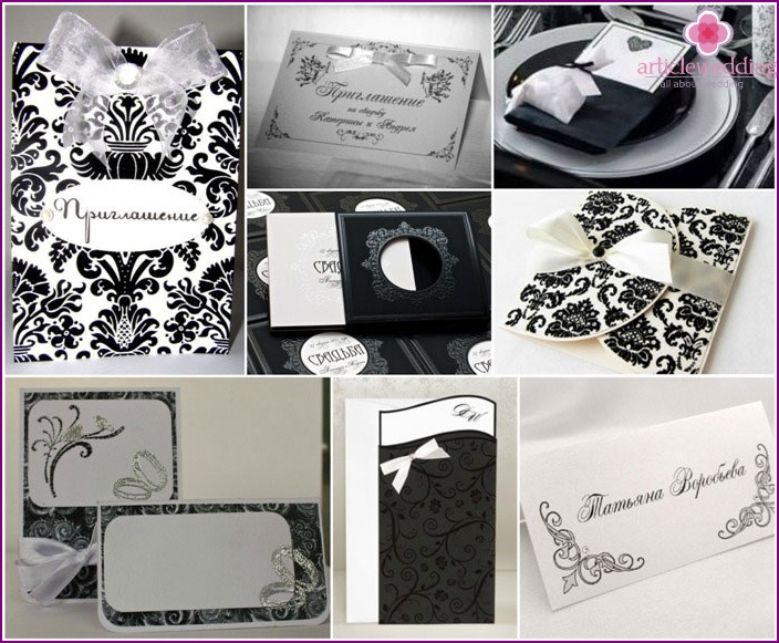 Black and white invitations with seating cards