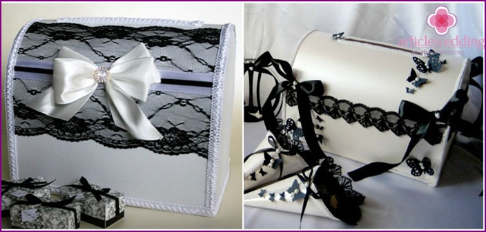 Black and white wedding chest for money