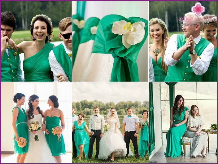 Outfits of guests at a green wedding