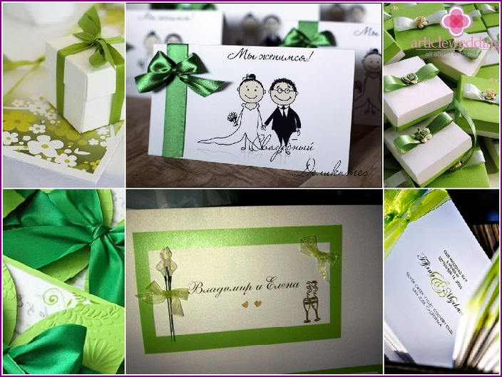 Wedding invitation cards in green
