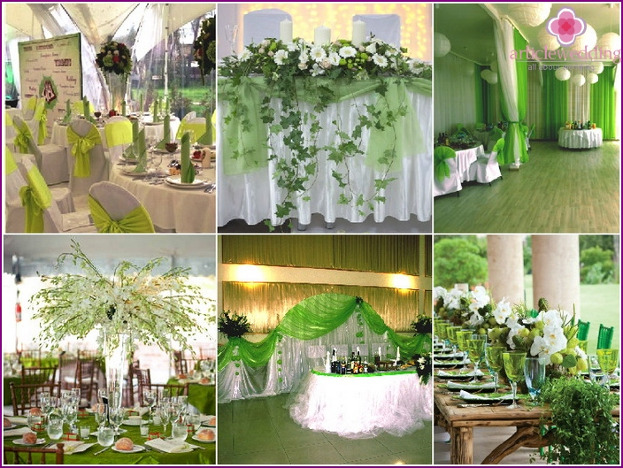 Banquet hall decoration in green colors