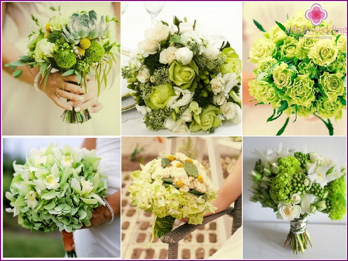 Green flower arrangement for the bride