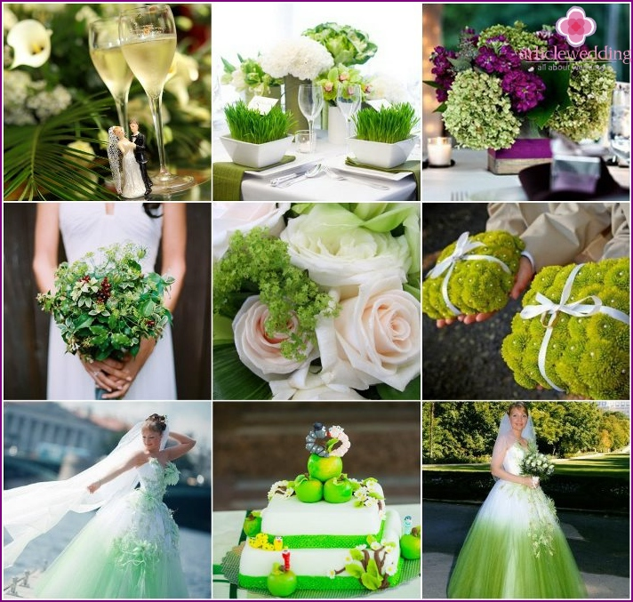 Photo of weddings in green