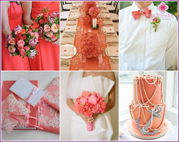 Coral wedding for sunny days
