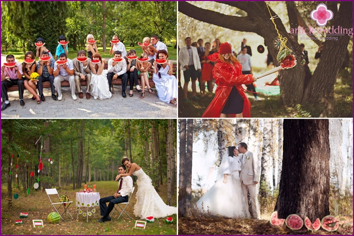 Themes for a photo album with a watermelon wedding