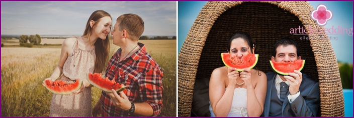 Scene ideas for photos of newlyweds at a watermelon wedding