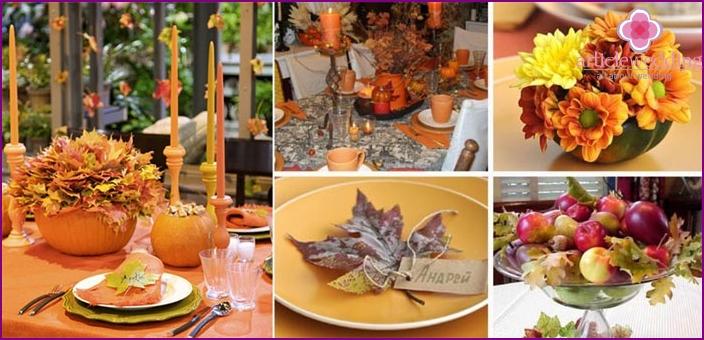 Moderni tyyli syksyllä hääpöytä sisustus