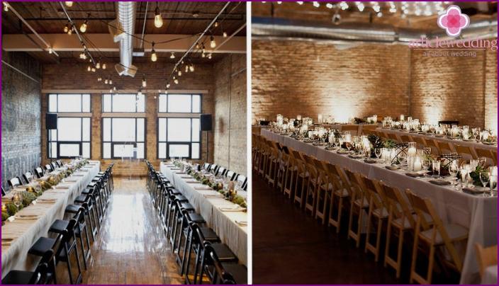 Hochzeitsdekoration im Loft-Stil