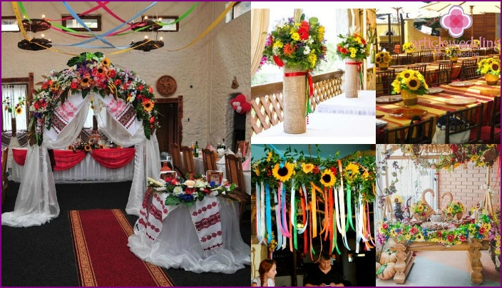 Ways to decorate the hall for the wedding of the Ukrainian style