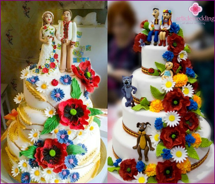 Options for a wedding cake in the Ukrainian style