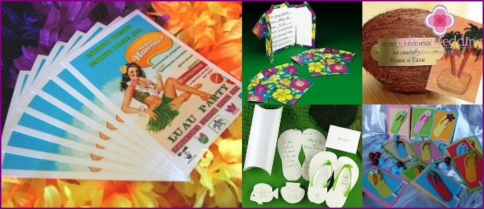 Ursprüngliche Einladungen zur Feier im hawaiianischen Stil.