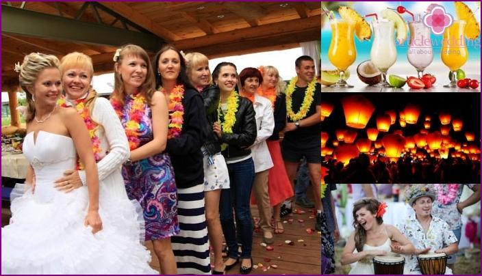 Spaß bei einer stilvollen hawaiianischen Hochzeit