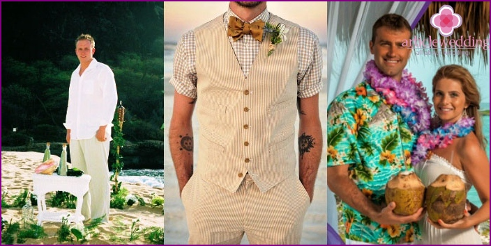 Options for a Hawaiian wedding outfit for a stylish groom