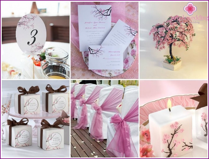 Wedding accessories with sakura elements