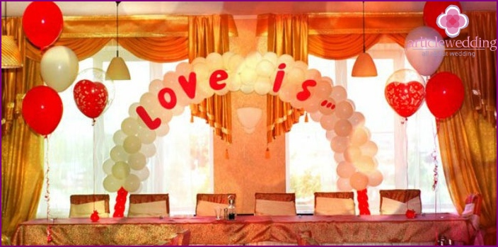 Wedding decoration example love is