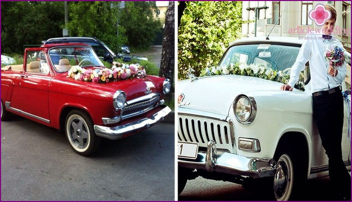 Ideas for decorating cars for a wedding in the style of the USSR