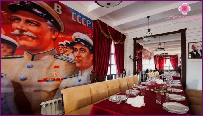 Design ideas for a banquet hall in the Soviet style