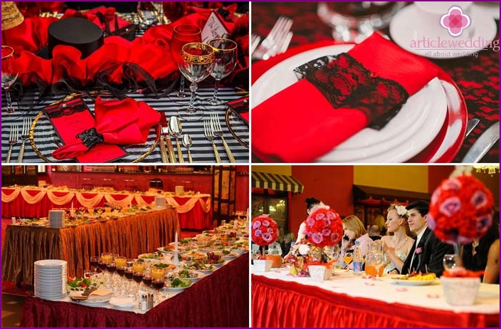 Wedding table in the style of the Moulin Rouge