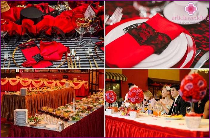 Hochzeitstisch im Stil des Moulin Rouge